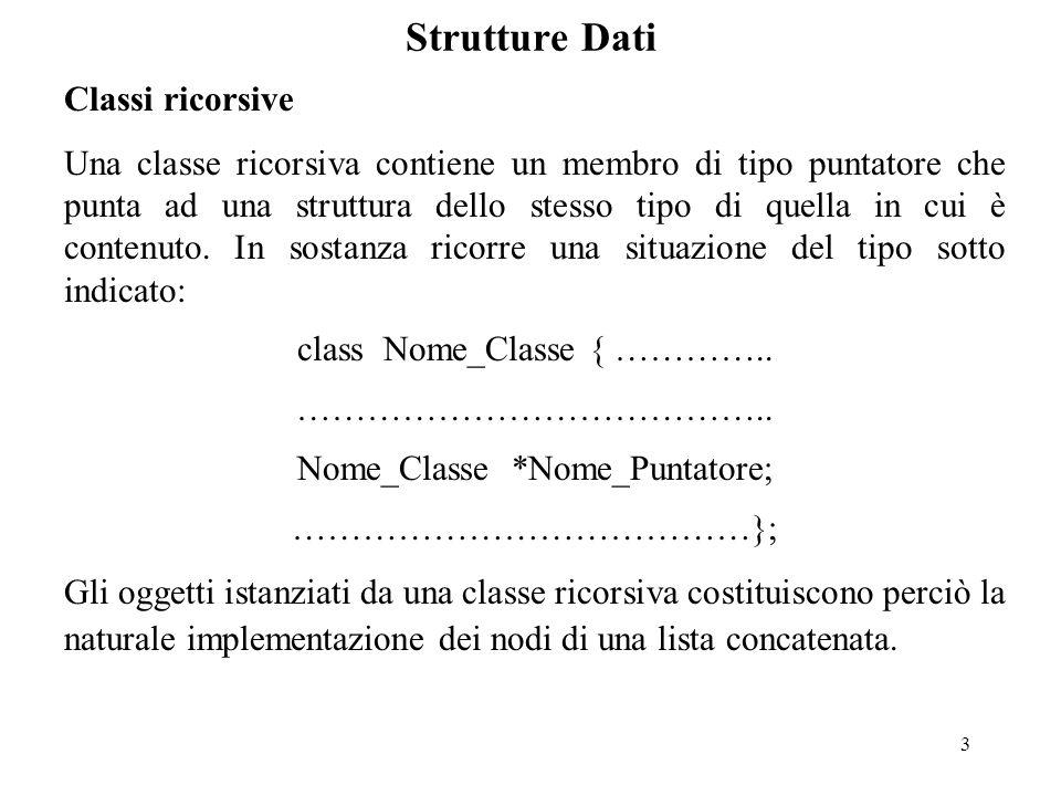 3 Strutture Dati Classi ricorsive Una classe ricorsiva contiene un membro di tipo puntatore che punta ad una struttura dello stesso tipo di quella in cui è contenuto.