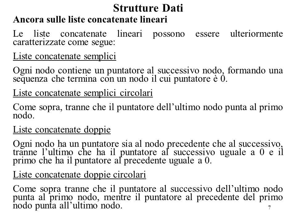 7 Strutture Dati Ancora sulle liste concatenate lineari Le liste concatenate lineari possono essere ulteriormente caratterizzate come segue: Liste concatenate semplici Ogni nodo contiene un puntatore al successivo nodo, formando una sequenza che termina con un nodo il cui puntatore è 0.