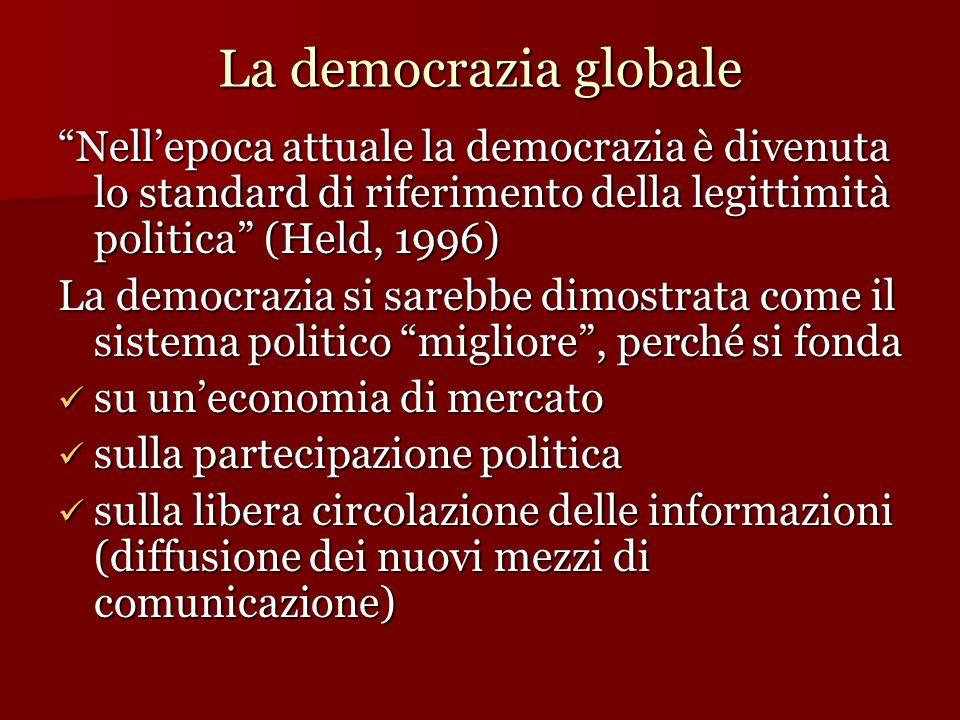 """La democrazia globale """"Nell'epoca attuale la democrazia è divenuta lo standard di riferimento della legittimità politica"""" (Held, 1996) La democrazia s"""