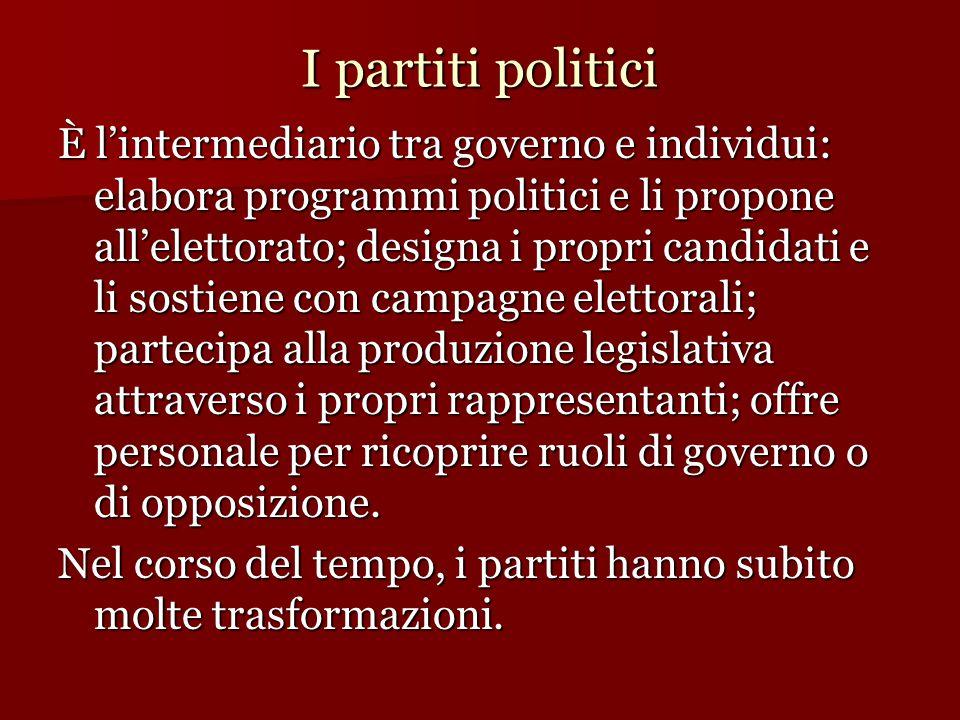 I partiti politici È l'intermediario tra governo e individui: elabora programmi politici e li propone all'elettorato; designa i propri candidati e li
