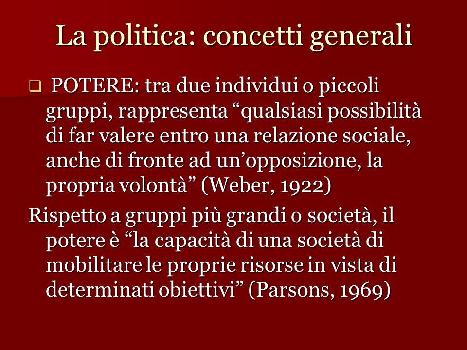 """La politica: concetti generali  POTERE: tra due individui o piccoli gruppi, rappresenta """"qualsiasi possibilità di far valere entro una relazione soci"""