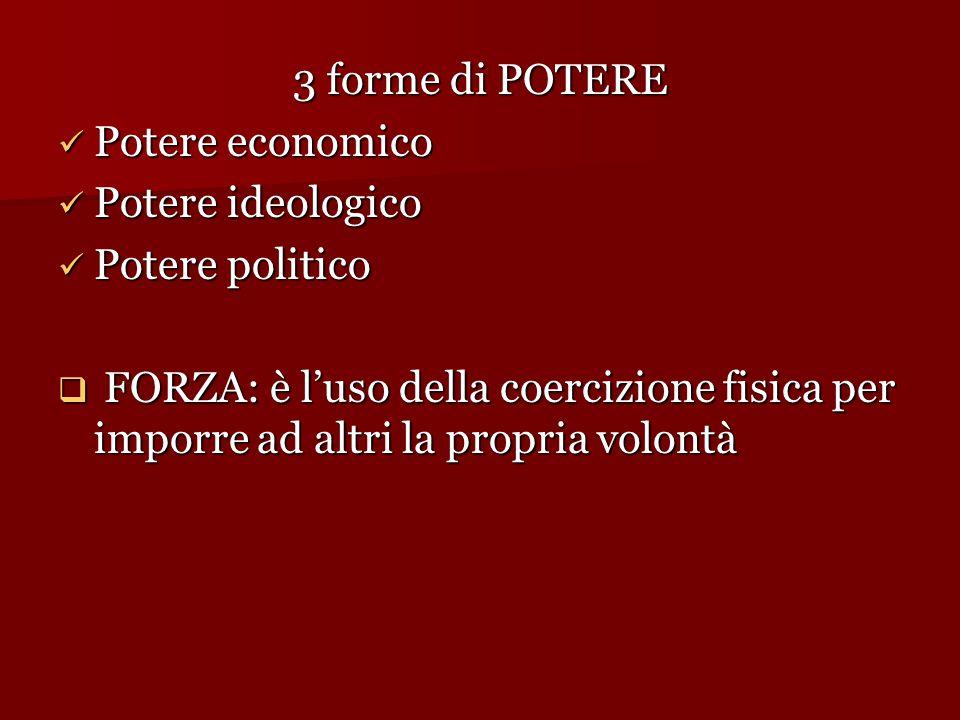 3 forme di POTERE Potere economico Potere economico Potere ideologico Potere ideologico Potere politico Potere politico  FORZA: è l'uso della coerciz