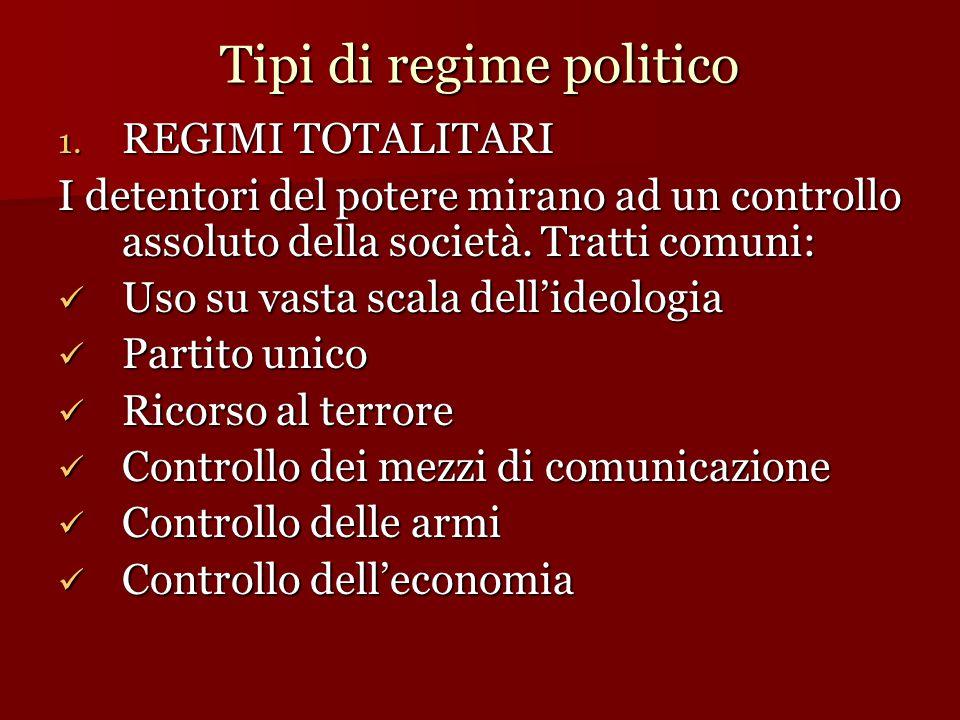 Tipi di regime politico 1. REGIMI TOTALITARI I detentori del potere mirano ad un controllo assoluto della società. Tratti comuni: Uso su vasta scala d
