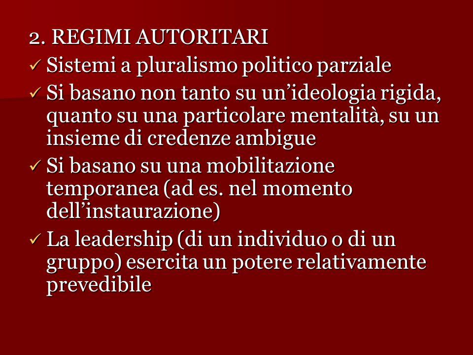 2. REGIMI AUTORITARI Sistemi a pluralismo politico parziale Sistemi a pluralismo politico parziale Si basano non tanto su un'ideologia rigida, quanto