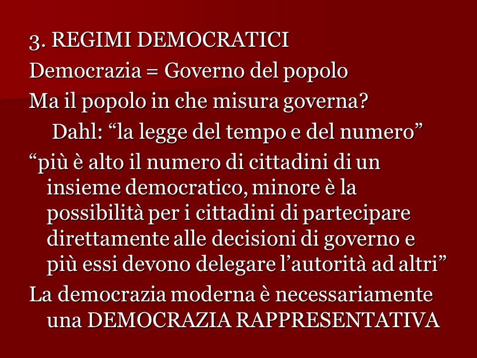 """3. REGIMI DEMOCRATICI Democrazia = Governo del popolo Ma il popolo in che misura governa? Dahl: """"la legge del tempo e del numero"""" Dahl: """"la legge del"""