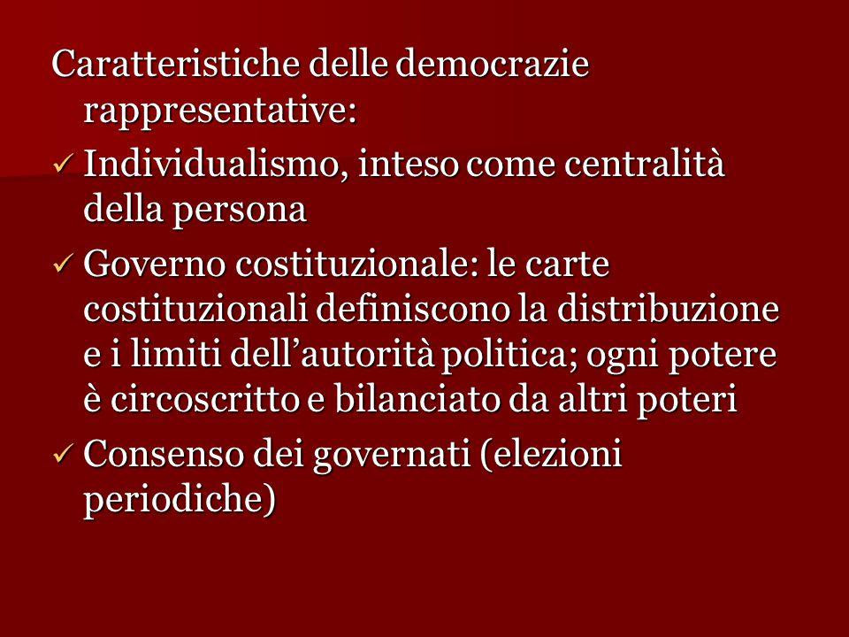 Caratteristiche delle democrazie rappresentative: Individualismo, inteso come centralità della persona Individualismo, inteso come centralità della pe