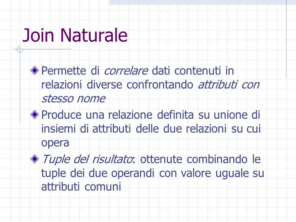 Join Naturale Permette di correlare dati contenuti in relazioni diverse confrontando attributi con stesso nome Produce una relazione definita su union