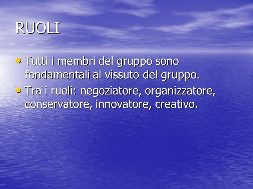RUOLI Tutti i membri del gruppo sono fondamentali al vissuto del gruppo. Tutti i membri del gruppo sono fondamentali al vissuto del gruppo. Tra i ruol