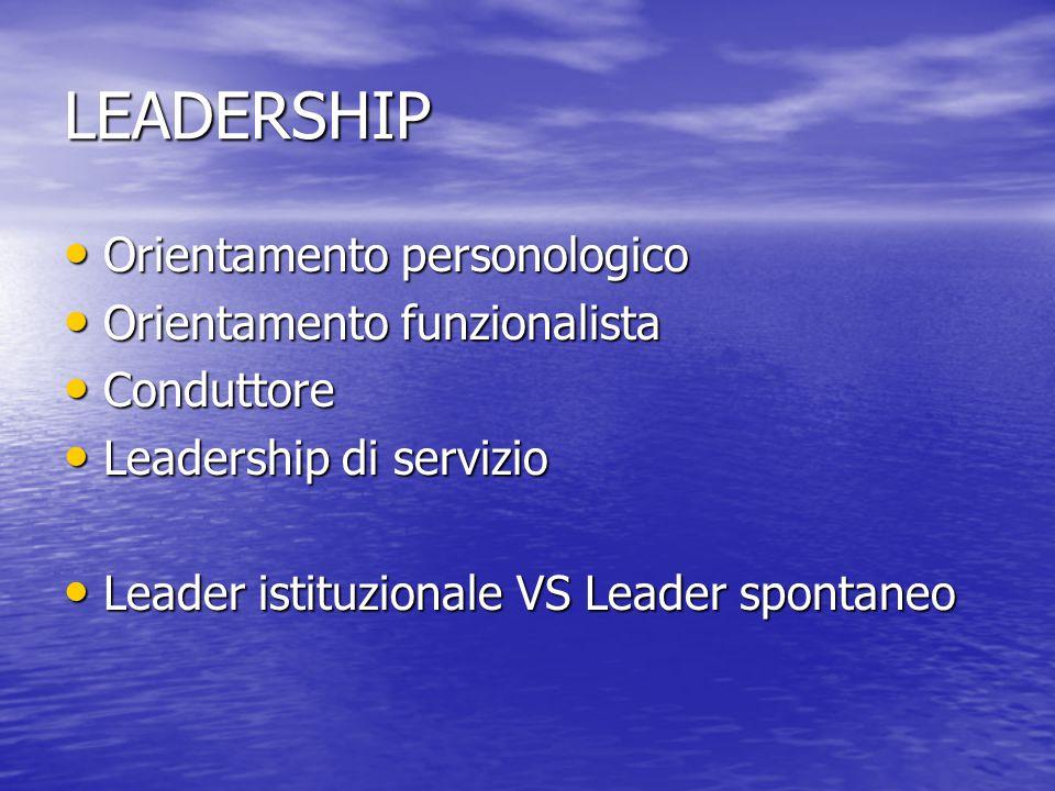 LEADERSHIP Orientamento personologico Orientamento personologico Orientamento funzionalista Orientamento funzionalista Conduttore Conduttore Leadershi