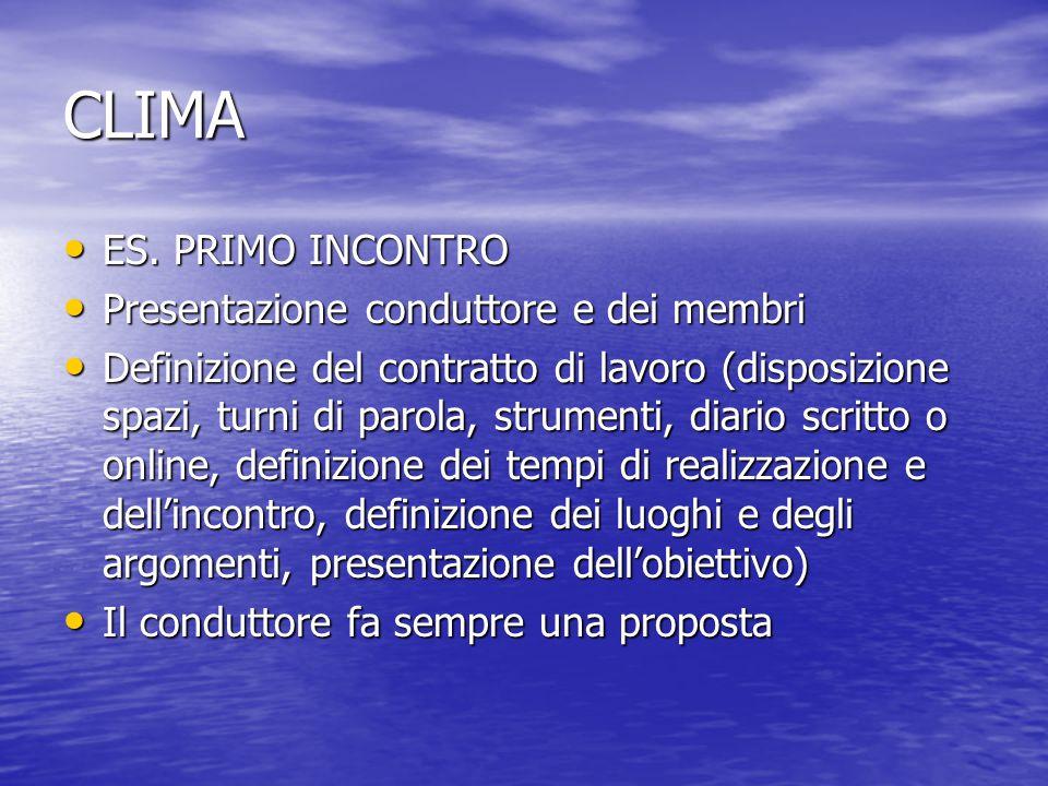 CLIMA ES. PRIMO INCONTRO ES. PRIMO INCONTRO Presentazione conduttore e dei membri Presentazione conduttore e dei membri Definizione del contratto di l