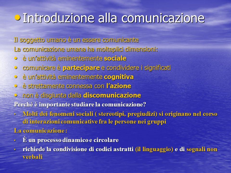 Introduzione alla comunicazione Introduzione alla comunicazione Il soggetto umano è un essere comunicante La comunicazione umana ha molteplici dimensi