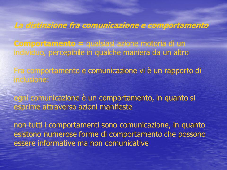 La distinzione fra comunicazione e comportamento Comportamento = qualsiasi azione motoria di un individuo, percepibile in qualche maniera da un altro