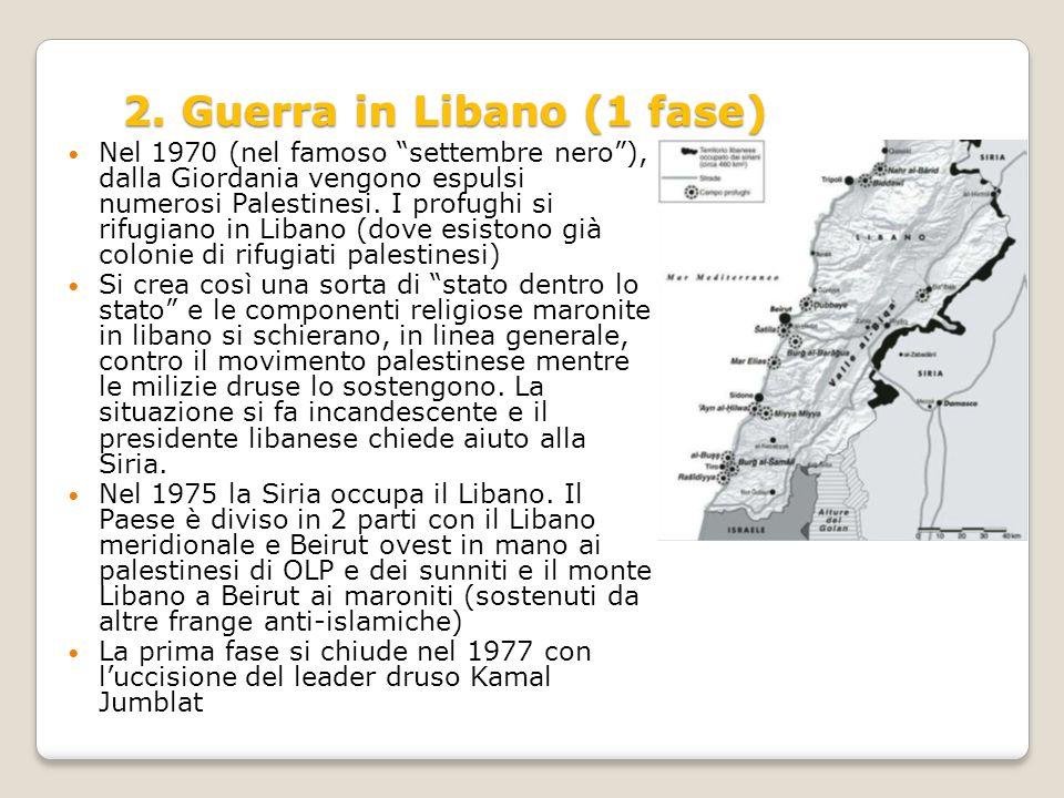 """2. Guerra in Libano (1 fase) Nel 1970 (nel famoso """"settembre nero""""), dalla Giordania vengono espulsi numerosi Palestinesi. I profughi si rifugiano in"""