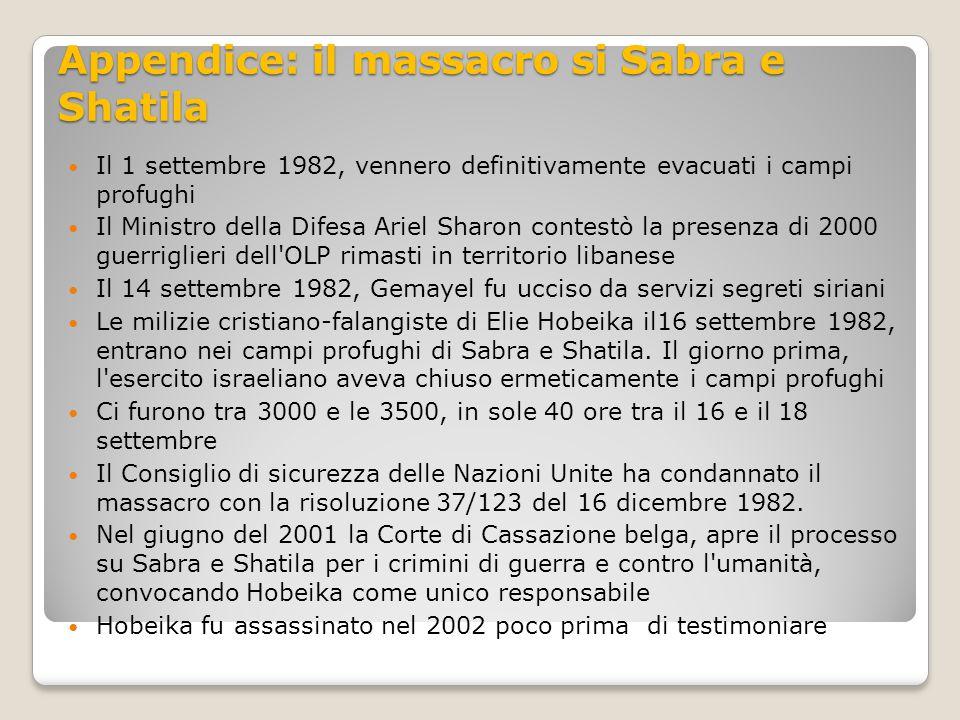 Appendice: il massacro si Sabra e Shatila Il 1 settembre 1982, vennero definitivamente evacuati i campi profughi Il Ministro della Difesa Ariel Sharon