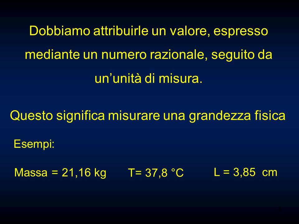 3 Dobbiamo attribuirle un valore, espresso mediante un numero razionale, seguito da un'unità di misura. Questo significa misurare una grandezza fisica