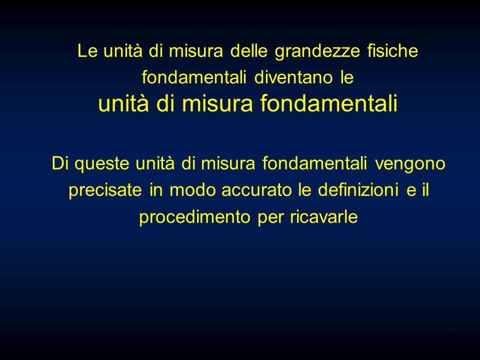 9 Le unità di misura delle grandezze fisiche fondamentali diventano le unità di misura fondamentali Di queste unità di misura fondamentali vengono pre