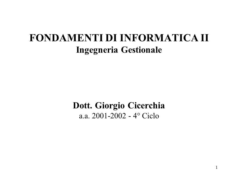 1 FONDAMENTI DI INFORMATICA II Ingegneria Gestionale Dott. Giorgio Cicerchia a.a. 2001-2002 - 4° Ciclo
