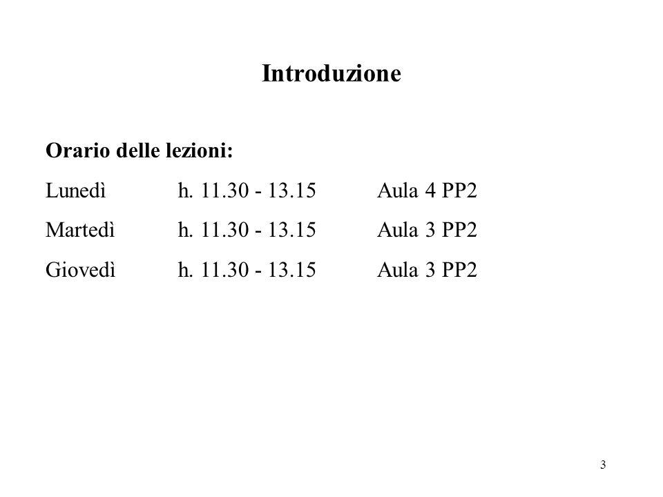 3 Introduzione Orario delle lezioni: Lunedì h. 11.30 - 13.15Aula 4 PP2 Martedìh.