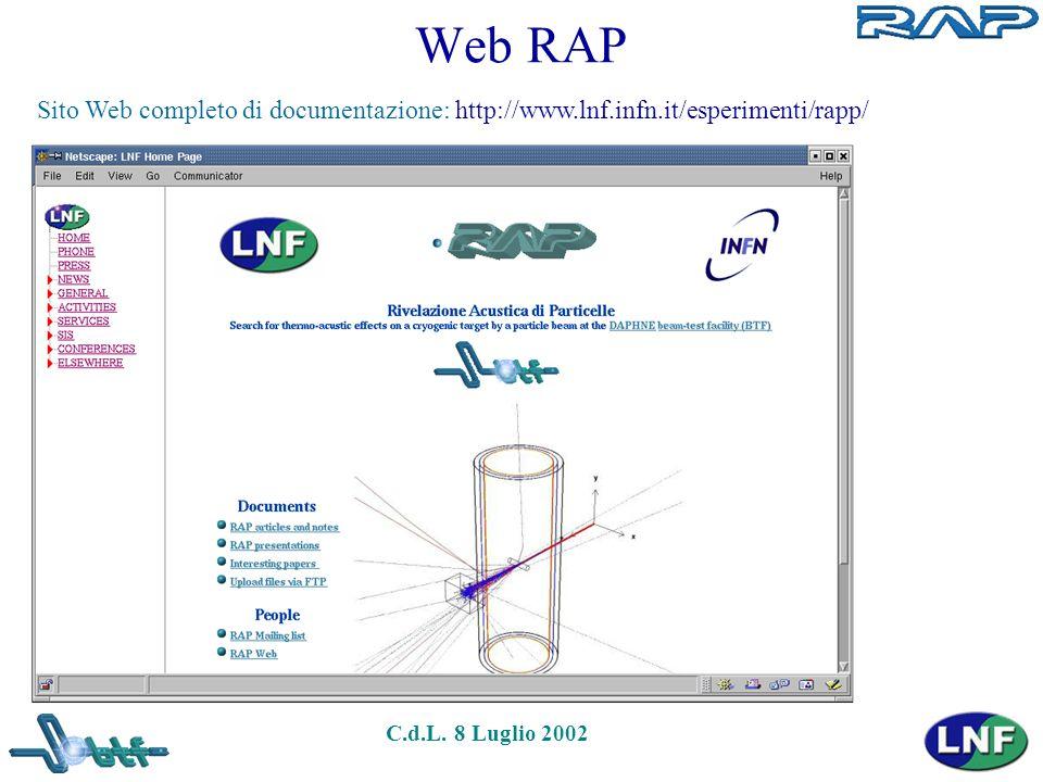 C.d.L. 8 Luglio 2002 Web RAP Sito Web completo di documentazione: http://www.lnf.infn.it/esperimenti/rapp/