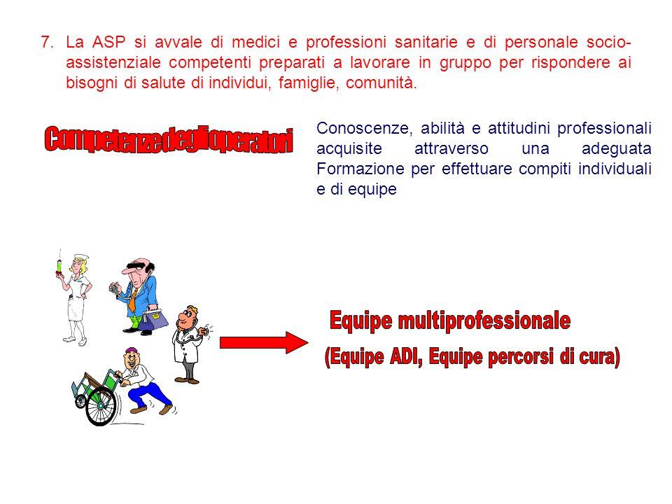 7.La ASP si avvale di medici e professioni sanitarie e di personale socio- assistenziale competenti preparati a lavorare in gruppo per rispondere ai b
