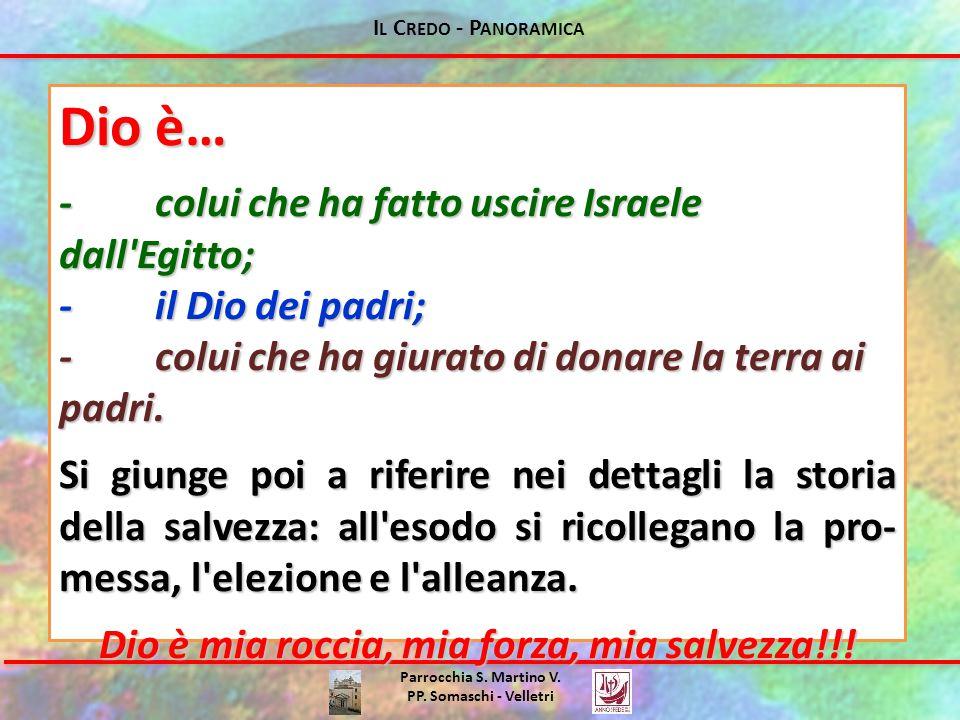 I L C REDO - P ANORAMICA Parrocchia S. Martino V. PP. Somaschi - Velletri Dio è… -colui che ha fatto uscire Israele dall'Egitto; -il Dio dei padri; -c