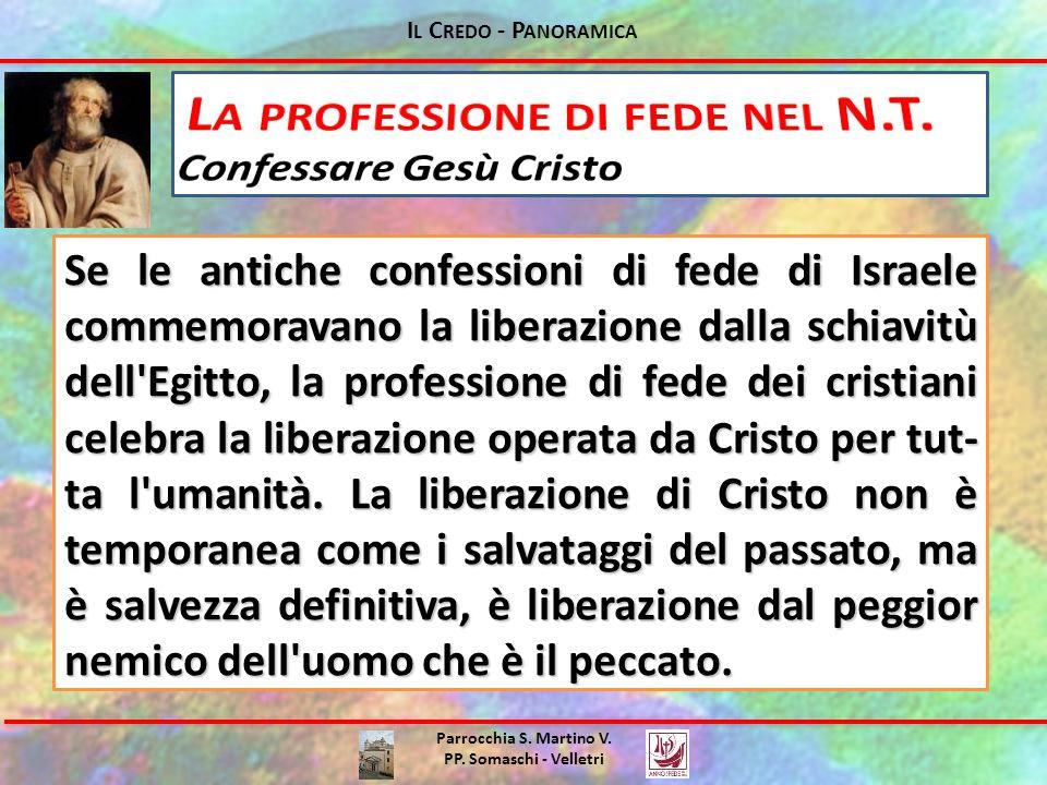 I L C REDO - P ANORAMICA Parrocchia S. Martino V. PP. Somaschi - Velletri Se le antiche confessioni di fede di Israele commemoravano la liberazione da