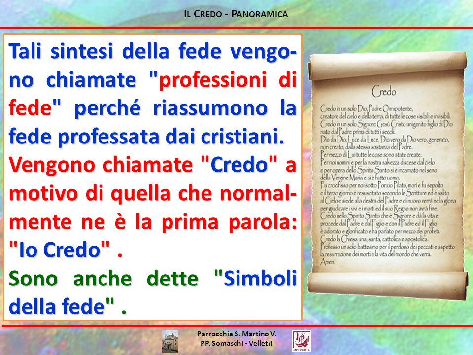 I L C REDO - P ANORAMICA Parrocchia S. Martino V. PP. Somaschi - Velletri Tali sintesi della fede vengo- no chiamate