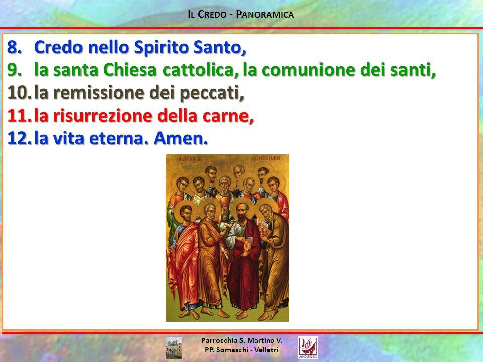 Parrocchia S. Martino V. PP. Somaschi - Velletri 8.Credo nello Spirito Santo, 9.la santa Chiesa cattolica, la comunione dei santi, 10.la remissione de