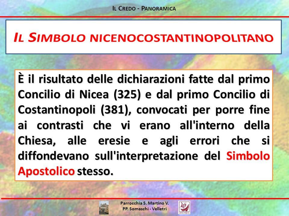 Parrocchia S. Martino V. PP. Somaschi - Velletri È il risultato delle dichiarazioni fatte dal primo Concilio di Nicea (325) e dal primo Concilio di Co