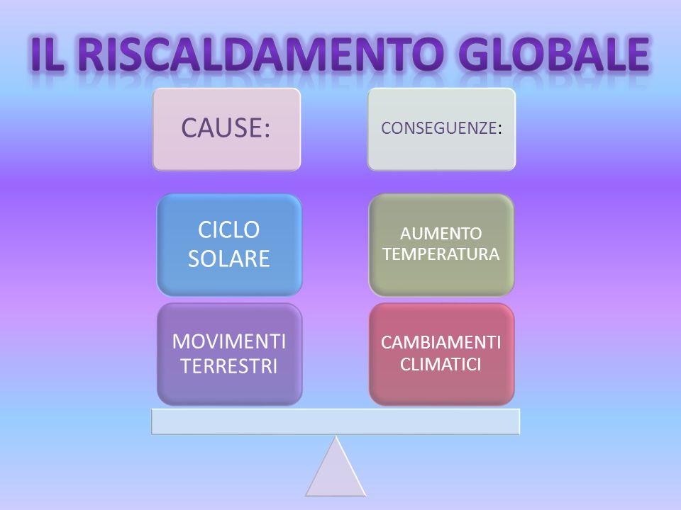 CAUSE: CONSEGUENZE: CAMBIAMENTI CLIMATICI AUMENTO TEMPERATURA MOVIMENTI TERRESTRI CICLO SOLARE