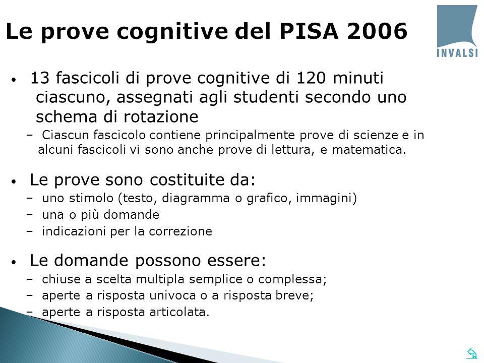  Le prove cognitive del PISA 2006 13 fascicoli di prove cognitive di 120 minuti ciascuno, assegnati agli studenti secondo uno schema di rotazione – Ciascun fascicolo contiene principalmente prove di scienze e in alcuni fascicoli vi sono anche prove di lettura, e matematica.