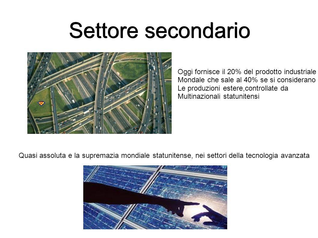 Settore secondario Oggi fornisce il 20% del prodotto industriale Mondale che sale al 40% se si considerano Le produzioni estere,controllate da Multina