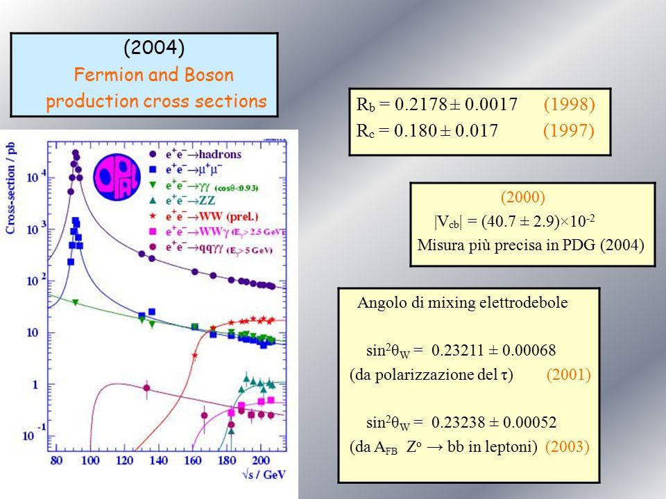 (2004) Fermion and Boson production cross sections (2000) |V cb | = (40.7 ± 2.9)×10 -2 Misura più precisa in PDG (2004) Angolo di mixing elettrodebole