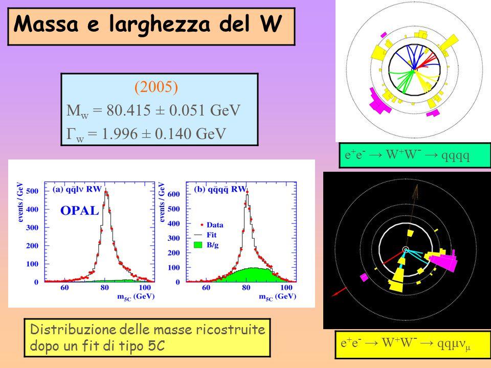 Massa e larghezza del W e + e - → W + W - → qqqq e + e - → W + W - → qqμν μ (2005) M w = 80.415 ± 0.051 GeV Г w = 1.996 ± 0.140 GeV Distribuzione dell