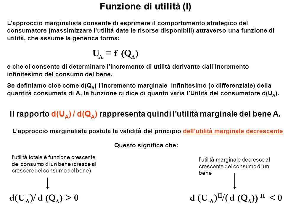 Funzione di utilità (I) L'approccio marginalista consente di esprimere il comportamento strategico del consumatore (massimizzare l'utilità date le ris