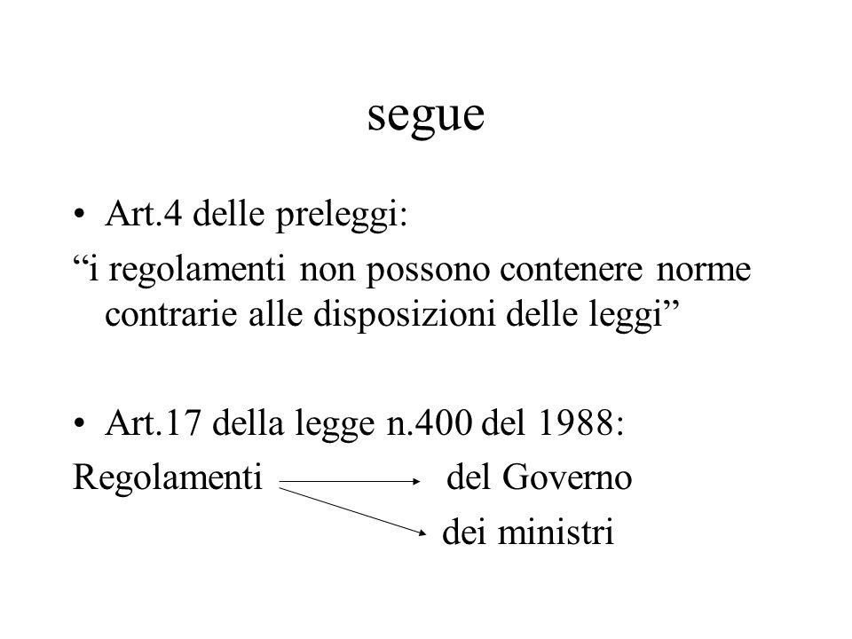 """segue Art.4 delle preleggi: """"i regolamenti non possono contenere norme contrarie alle disposizioni delle leggi"""" Art.17 della legge n.400 del 1988: Reg"""