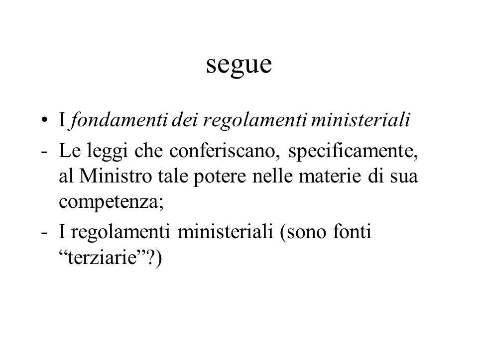segue I fondamenti dei regolamenti ministeriali -Le leggi che conferiscano, specificamente, al Ministro tale potere nelle materie di sua competenza; -