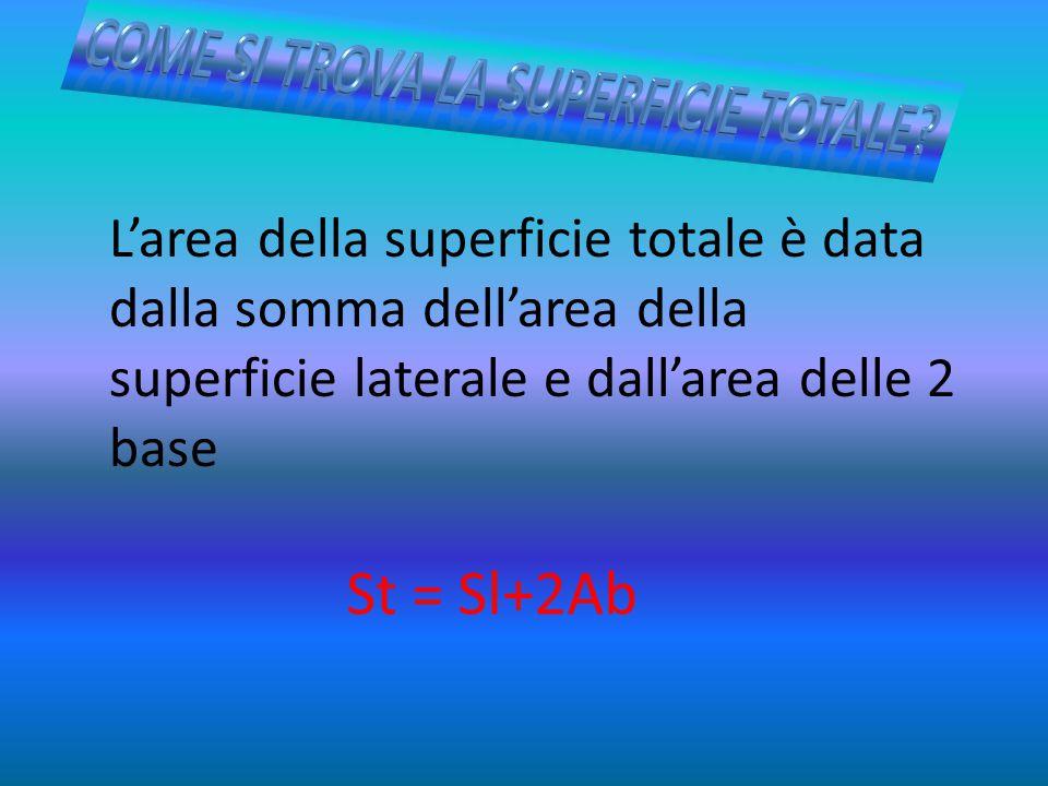 L'area della superficie totale è data dalla somma dell'area della superficie laterale e dall'area delle 2 base St = Sl+2Ab