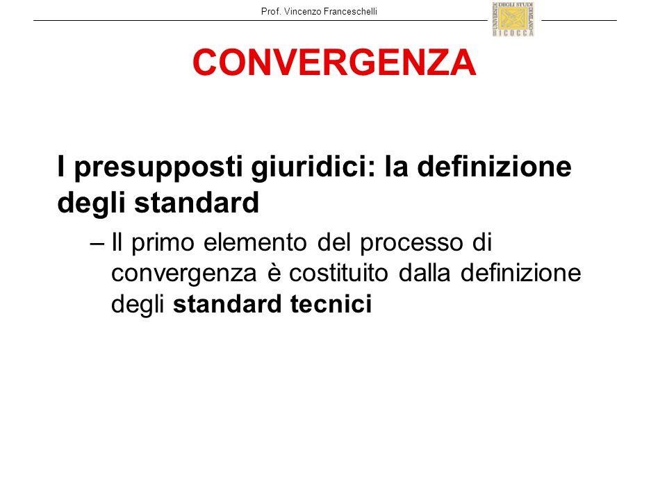 CONVERGENZA I presupposti giuridici: la definizione degli standard –Il primo elemento del processo di convergenza è costituito dalla definizione degli standard tecnici