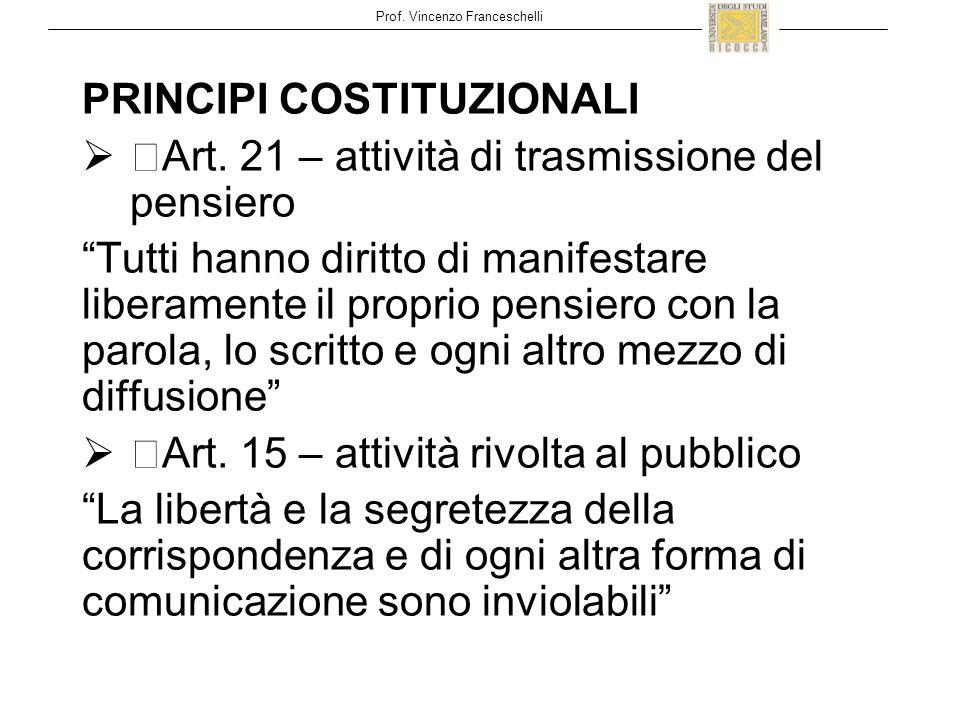 Prof. Vincenzo Franceschelli PRINCIPI COSTITUZIONALI  Art.