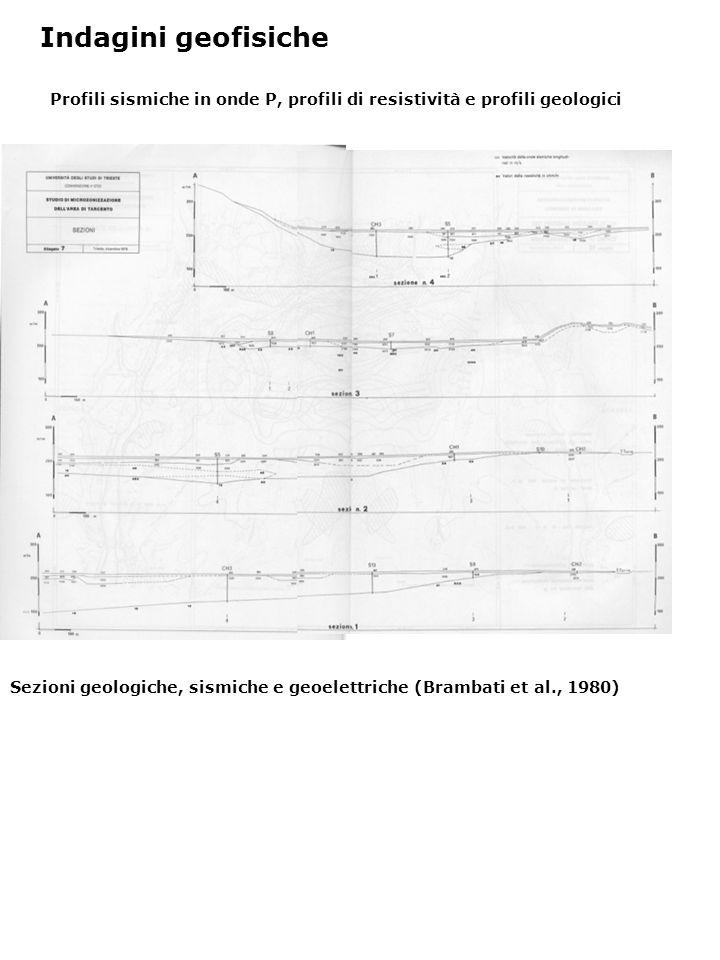 Profili sismiche in onde P, profili di resistività e profili geologici Indagini geofisiche Sezioni geologiche, sismiche e geoelettriche (Brambati et a