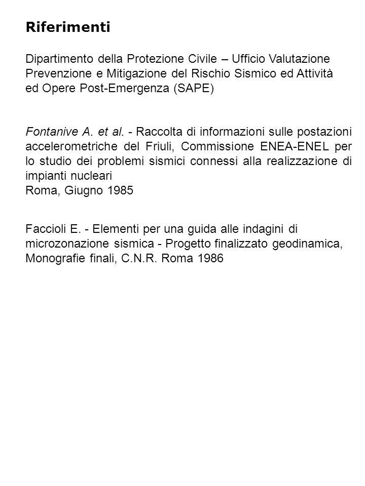 Riferimenti Fontanive A. et al. - Raccolta di informazioni sulle postazioni accelerometriche del Friuli, Commissione ENEA-ENEL per lo studio dei probl