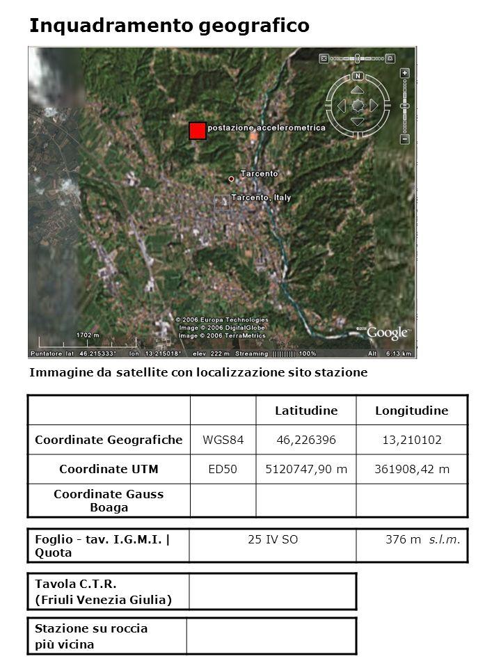 Immagine da satellite con localizzazione sito stazione Foglio - tav. I.G.M.I. | Quota 25 IV SO376 m s.l.m. Inquadramento geografico LatitudineLongitud