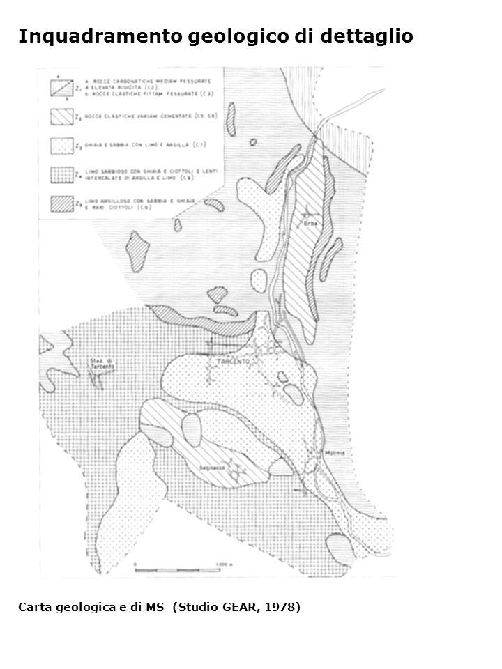 Inquadramento geologico di dettaglio Carta geologica e di MS (Studio GEAR, 1978)