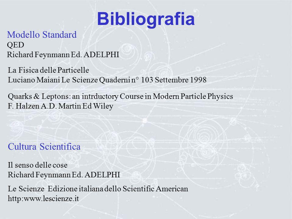 "Bibliografia Acceleratori: R.Feynman, R.Leighton, M.Sands: La Fisica di Feynman (Vol. 2), Addison Wesley R.Wilson, R.Littauer:""Acceleratori di partice"