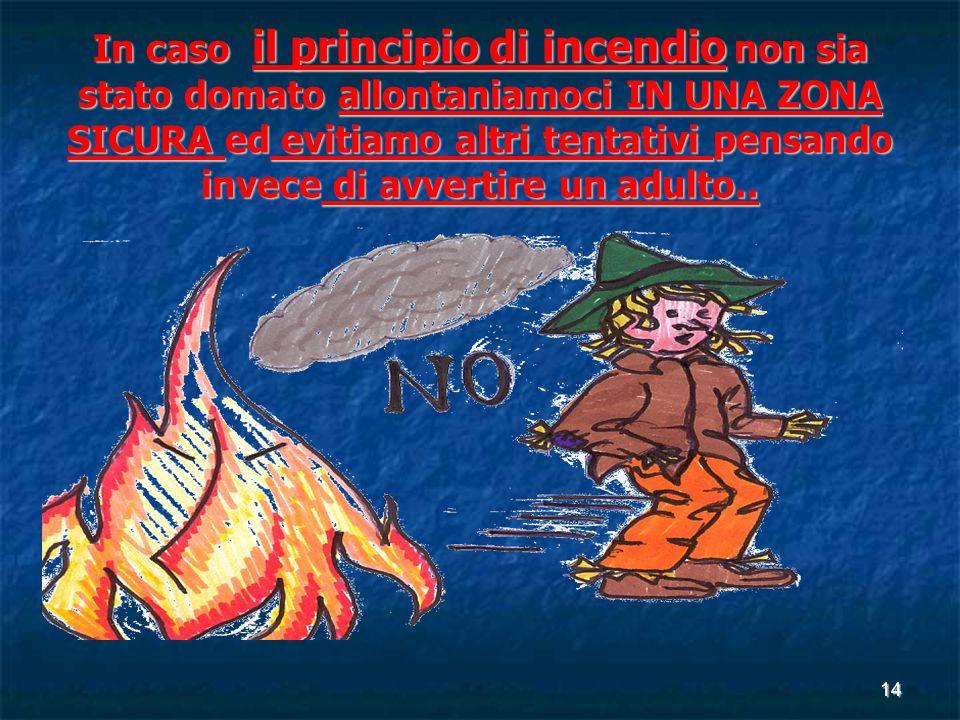14 In caso il principio di incendio non sia stato domato allontaniamoci IN UNA ZONA SICURA ed evitiamo altri tentativi pensando invece di avvertire un adulto..