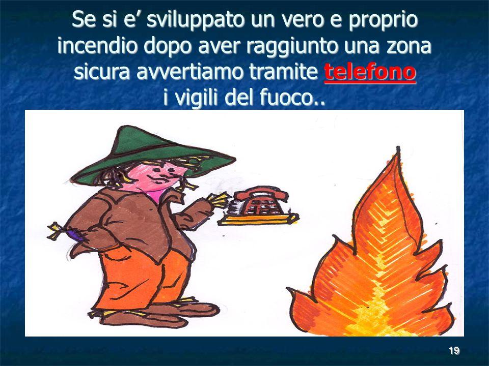 19 Se si e' sviluppato un vero e proprio incendio dopo aver raggiunto una zona sicura avvertiamo tramite telefono i vigili del fuoco..