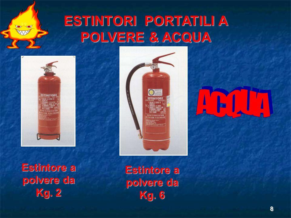 8 Estintore a polvere da Kg. 2 ESTINTORI PORTATILI A POLVERE & ACQUA Estintore a polvere da Kg. 6