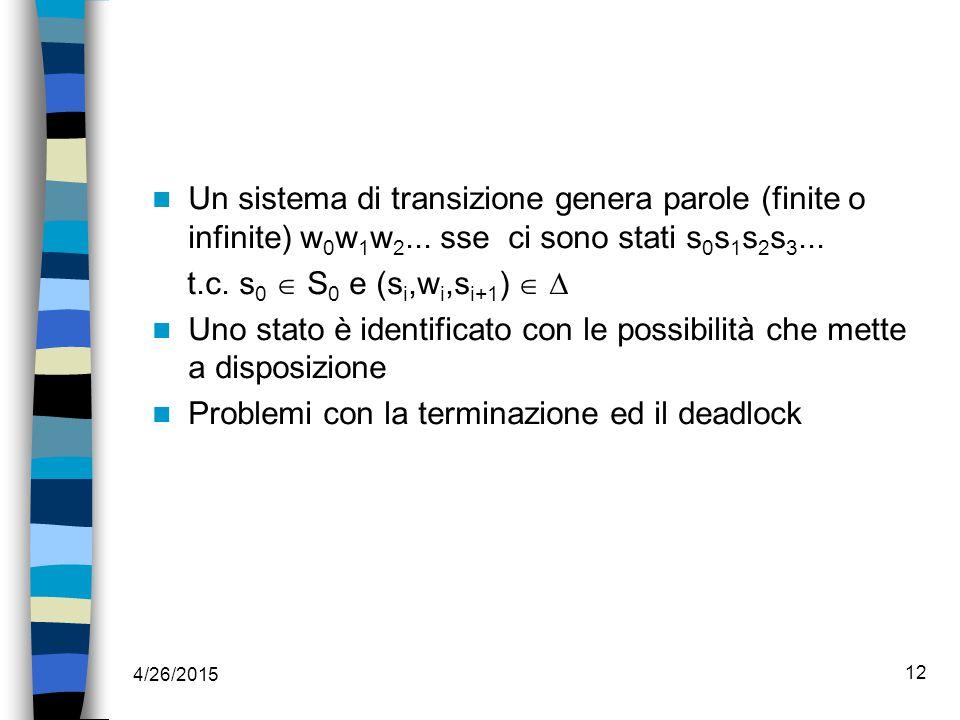 4/26/2015 12 Un sistema di transizione genera parole (finite o infinite) w 0 w 1 w 2...