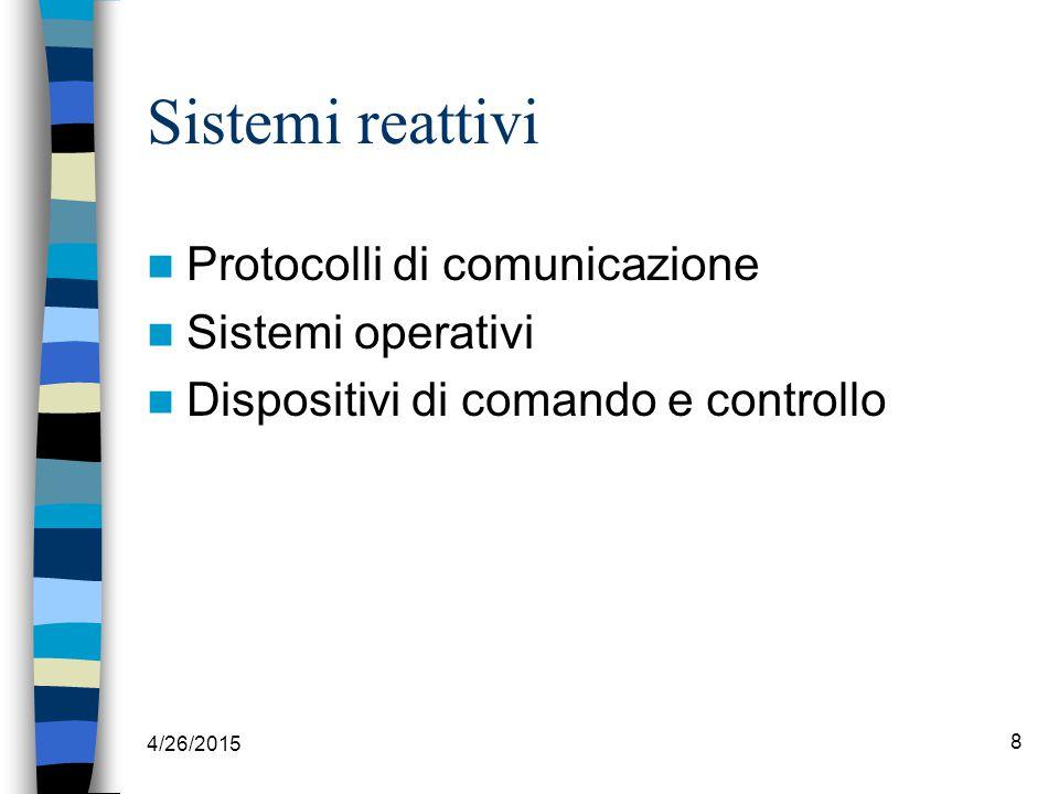 4/26/2015 8 Sistemi reattivi Protocolli di comunicazione Sistemi operativi Dispositivi di comando e controllo